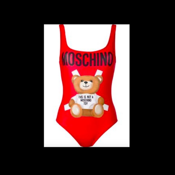 SS17 Moschino Couture Jeremy Scott Teddy Bear Paper Doll Black 1 Piece Swimsuit